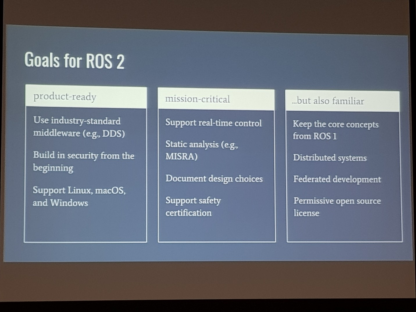 fig 3. Presentation from Open RoboticS on ROS 2.0