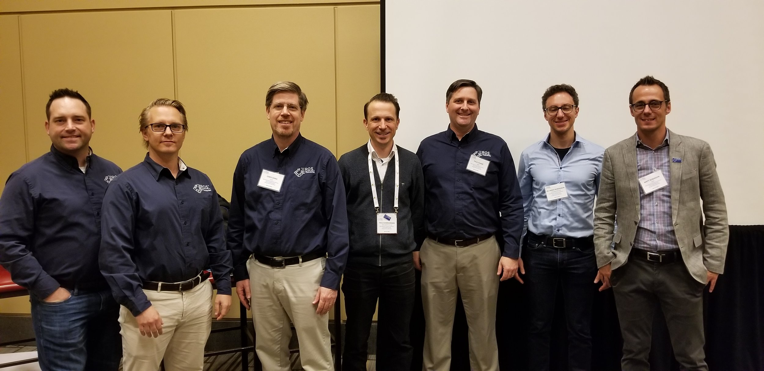 Global ROS-I Team from Left to Right - Levi Armstrong (SwRI), Erik Unemyr (ROS-I AP), Chris Bang (SwRI), Thilo Zimmerman (Fraunhofer IPA), Paul Evans (SwRI), Mirko Bordignon (Fraunhofer IPA), and Matt Robinson (SwRI)
