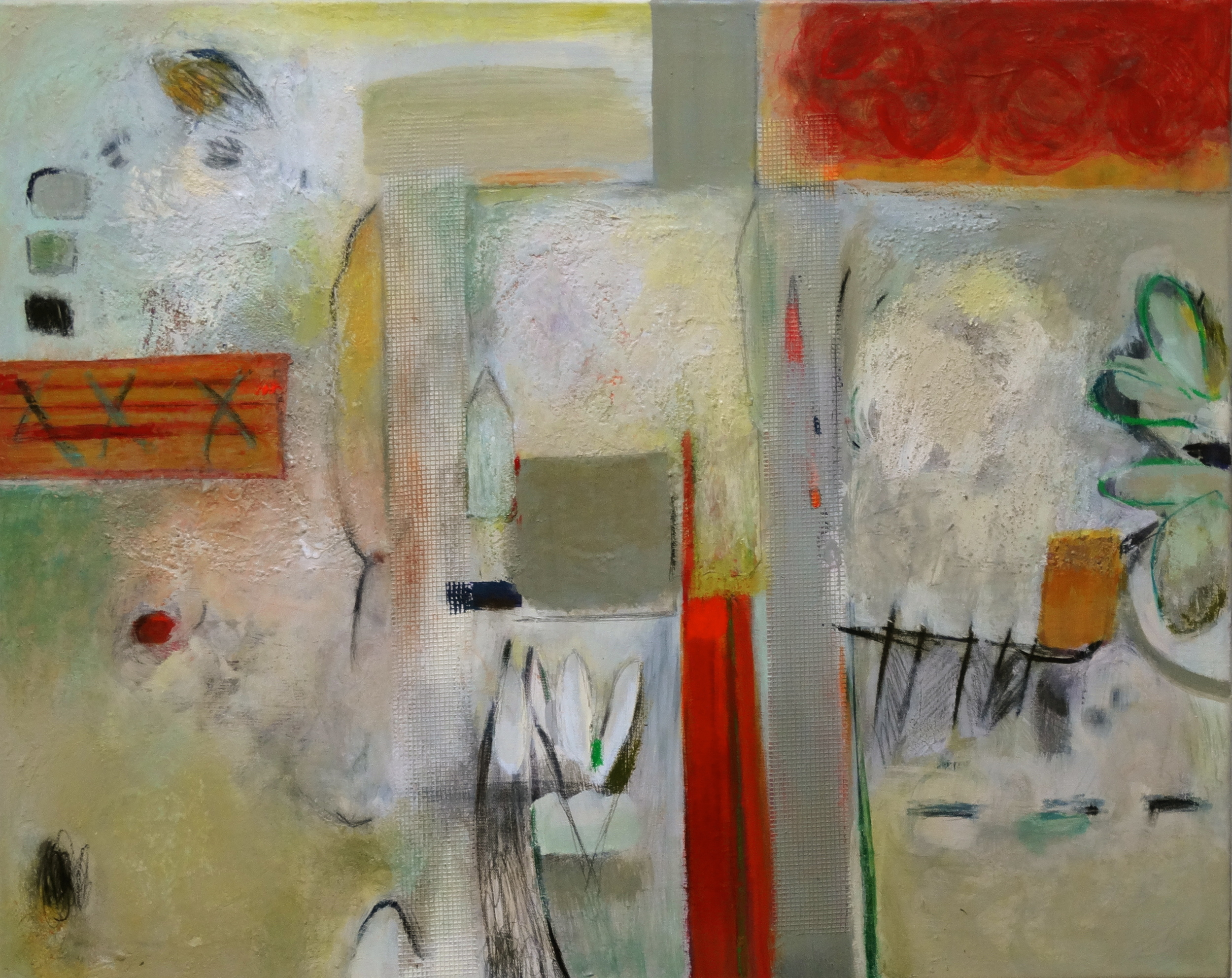 """Sandra Berkson  On Her Walk, 2014 acrylic, oil stick, pencil, collage and mixed media 24"""" x 30"""" $400"""