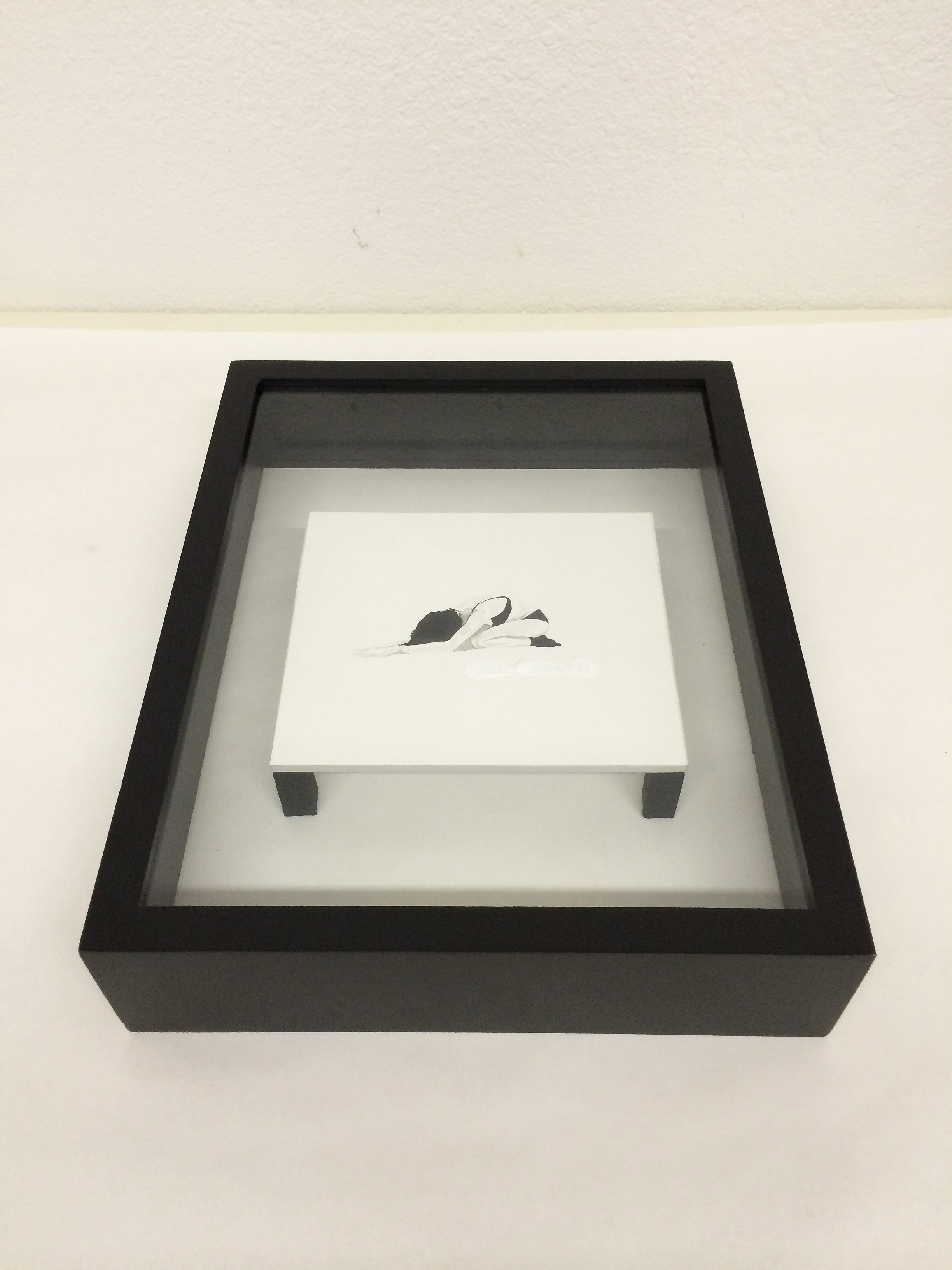 """Arianne Bird  Choose Chance , 2014 shadow box, india ink illustration, pencil, gesso and book cloth 11.5"""" x 15"""" x 3"""" $400"""