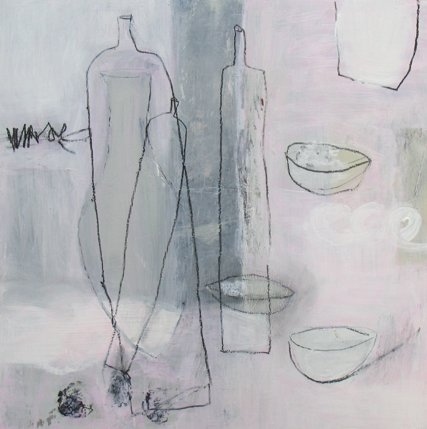 """Pouke Halpern  Rose,  2014 acrylic, charcoal and graphite on board 12"""" x 12"""" $475"""