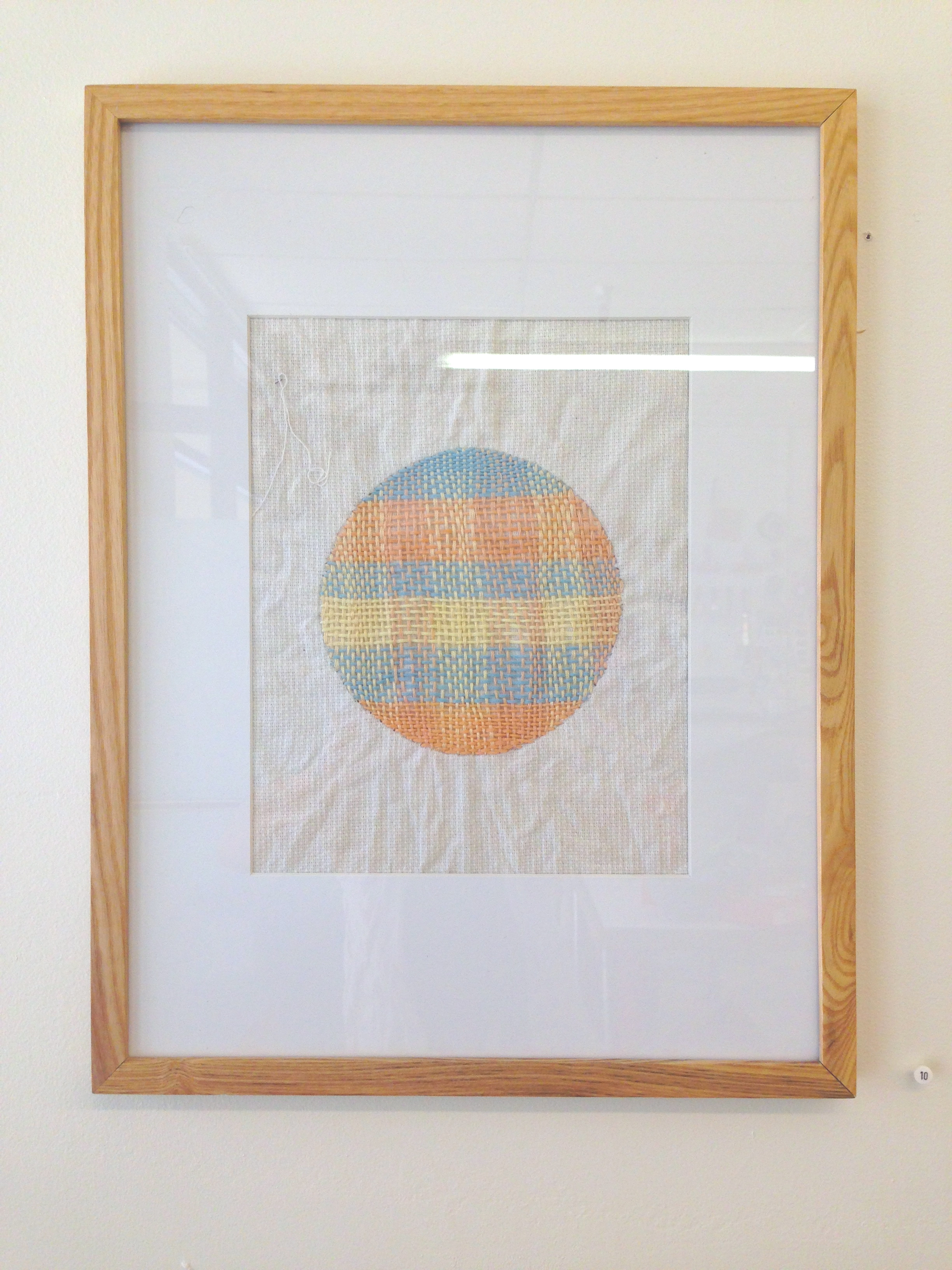"""Jennifer Huang  Mending the Sun,  2014 embroidery thread on cotton 12"""" x 18"""" $180"""