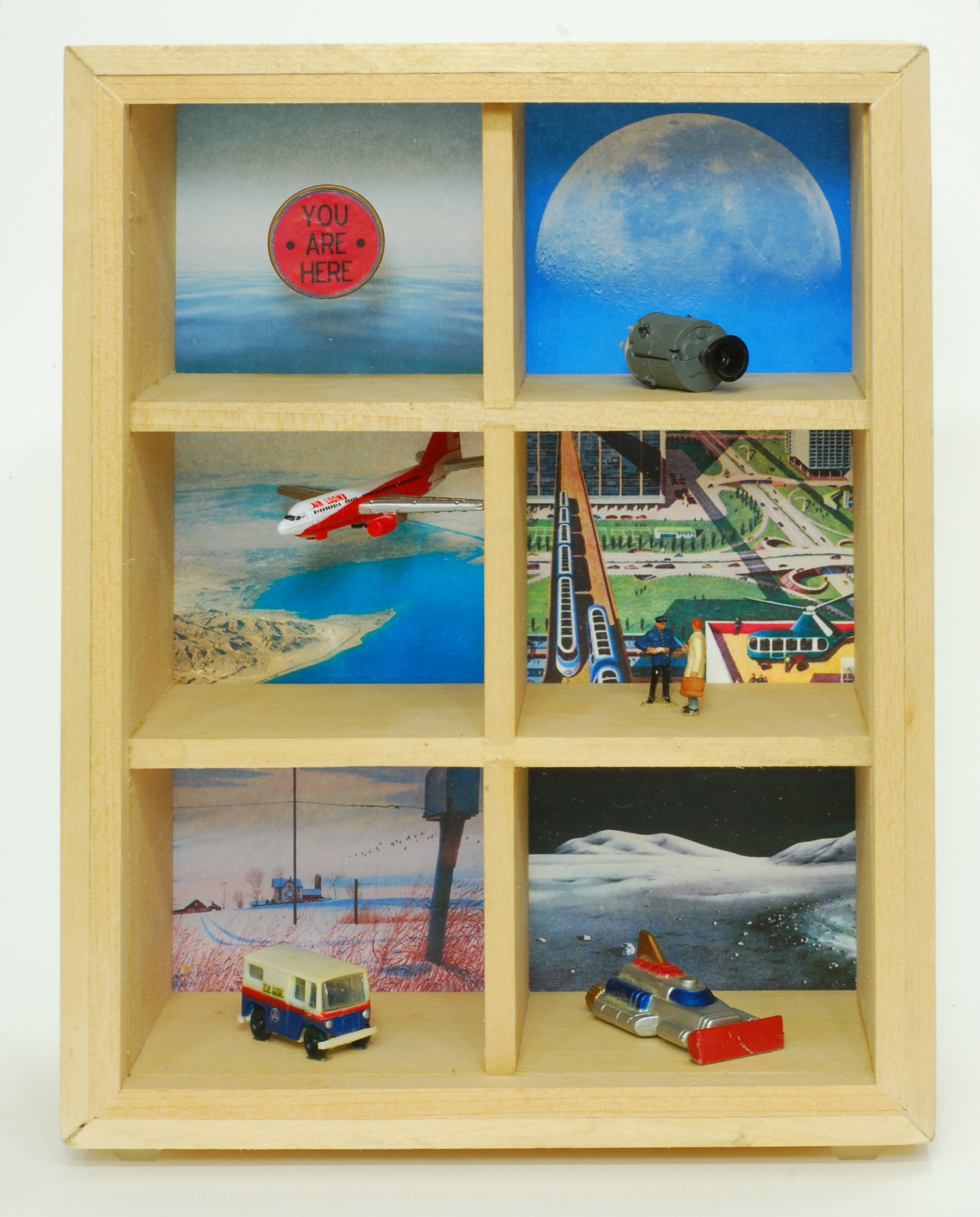 """Alec MacLeod   Going Somewhere , 2013 wood, glass and found objects 9.5"""" x 7.5"""" x 3.5"""" $200"""
