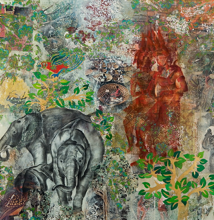 """Jo Ann Biagini  Elephants,  2009 mixed on book pages 43"""" x 41"""" $3500"""