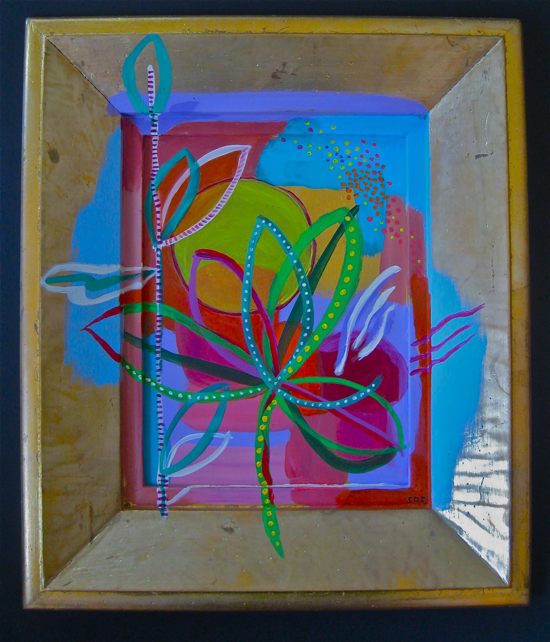 """Sas Colby  Pollen Count No. 2,  2013  acrylic and Flasche on gilded board and frame  16"""" x 19"""" $500"""