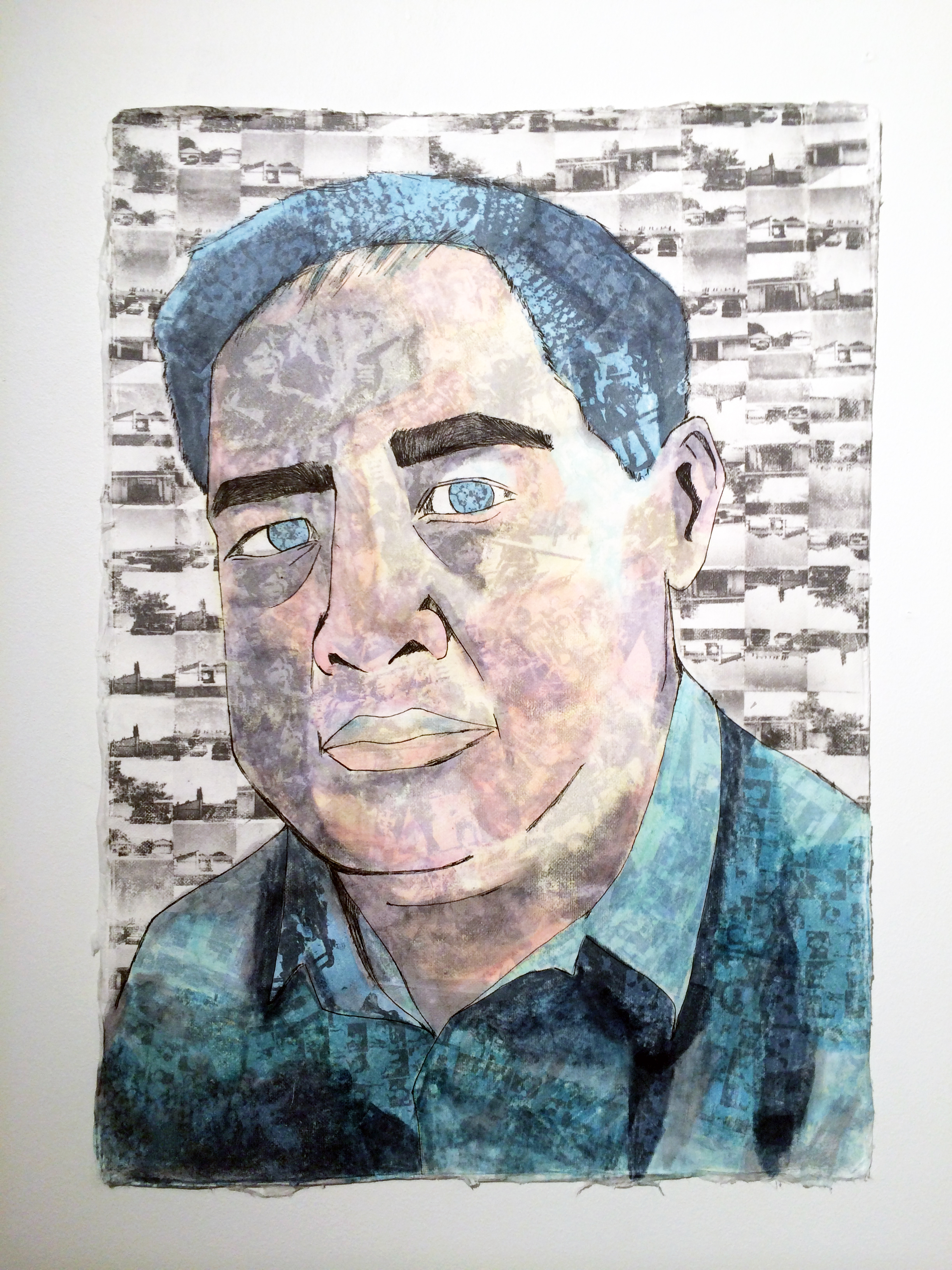 """Anthony So  Portrait of My Dad , 2014 mixed media on rice paper 24"""" x 30"""" $200"""