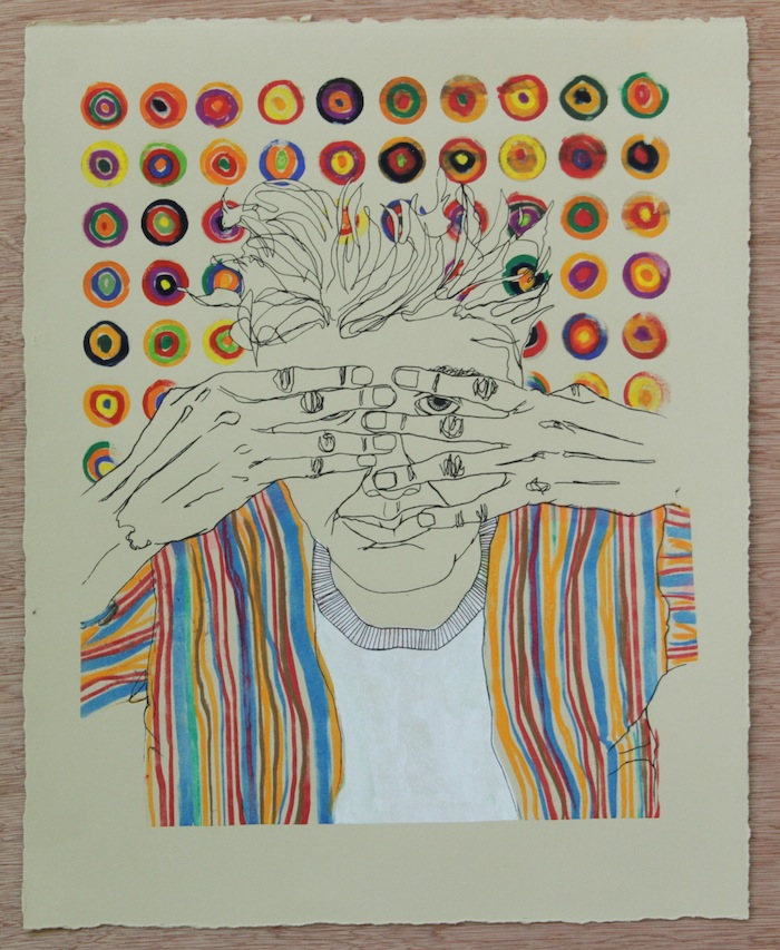 """Monica Valdez  Hugo 1, 2014 screen printed monoprint with gouache, soft pastels and in 15"""" x 19"""" uf $250"""
