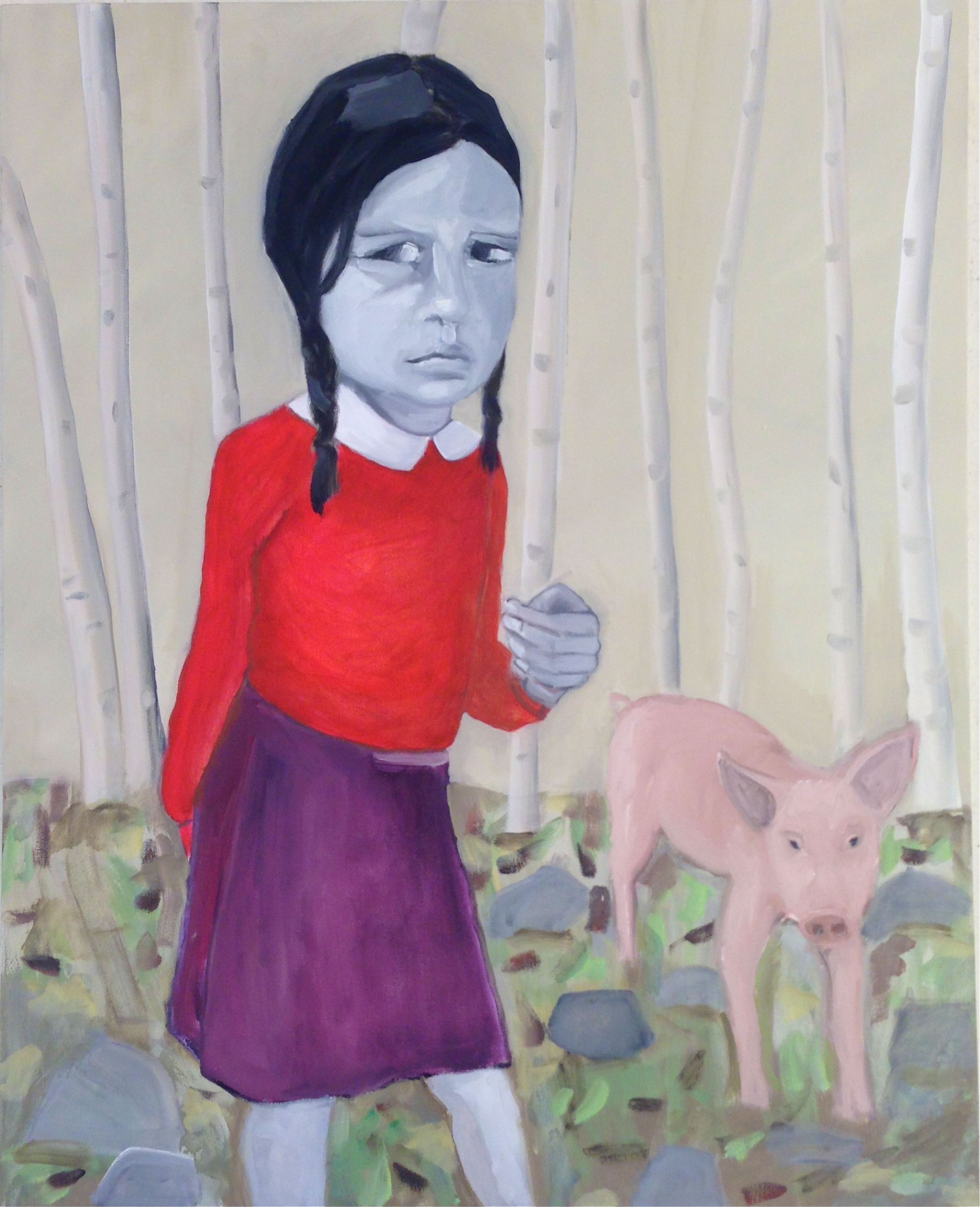 """Marie Van Elder  Girl (with red blouse) and Pig, 2013 oil on canvas 30"""" x 24"""" uf $3,000"""