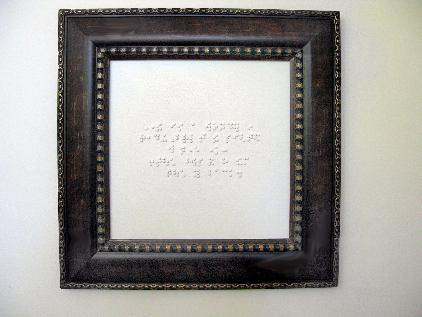 """Stuart Wagner  Touching Words, 2013 canvas, wood, braille dots, mixed media 18.5"""" x 18.5"""" $600"""