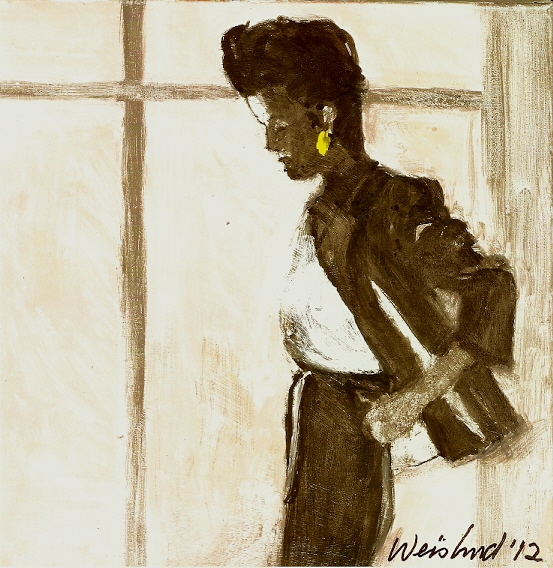 """Harry Weisburd  Woman in Gray Suit, 2012 watercolor on canvas 12"""" x 12"""" uf $500"""