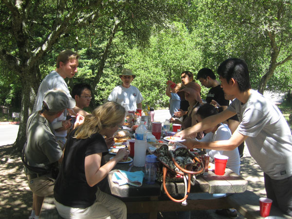 Picnic and art at the Berkeley Art Center's shaded grove