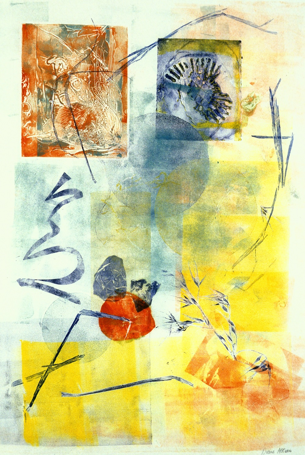"Diane Abt   Japan Memento , 2006 monotype on Japanese paper 38"" x 25"""