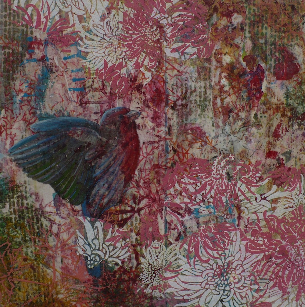 "Jo Ann Biagini   Fluttering Bird , 2014 mixed media on book pages 10"" x 10"""