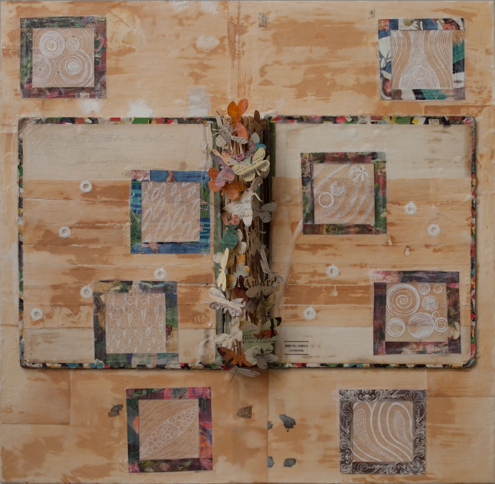 "Joy Broom   Scrapbook Collaboration (Ancestral Narratives Series) , 2015 mixed media 24"" x 24"""