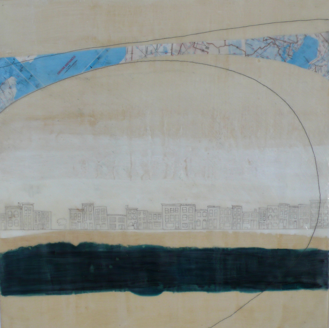 "Kim Cardoso   Time Excluding Stops , 2014 encaustic, map, and graphite on wood 18"" x 18"""