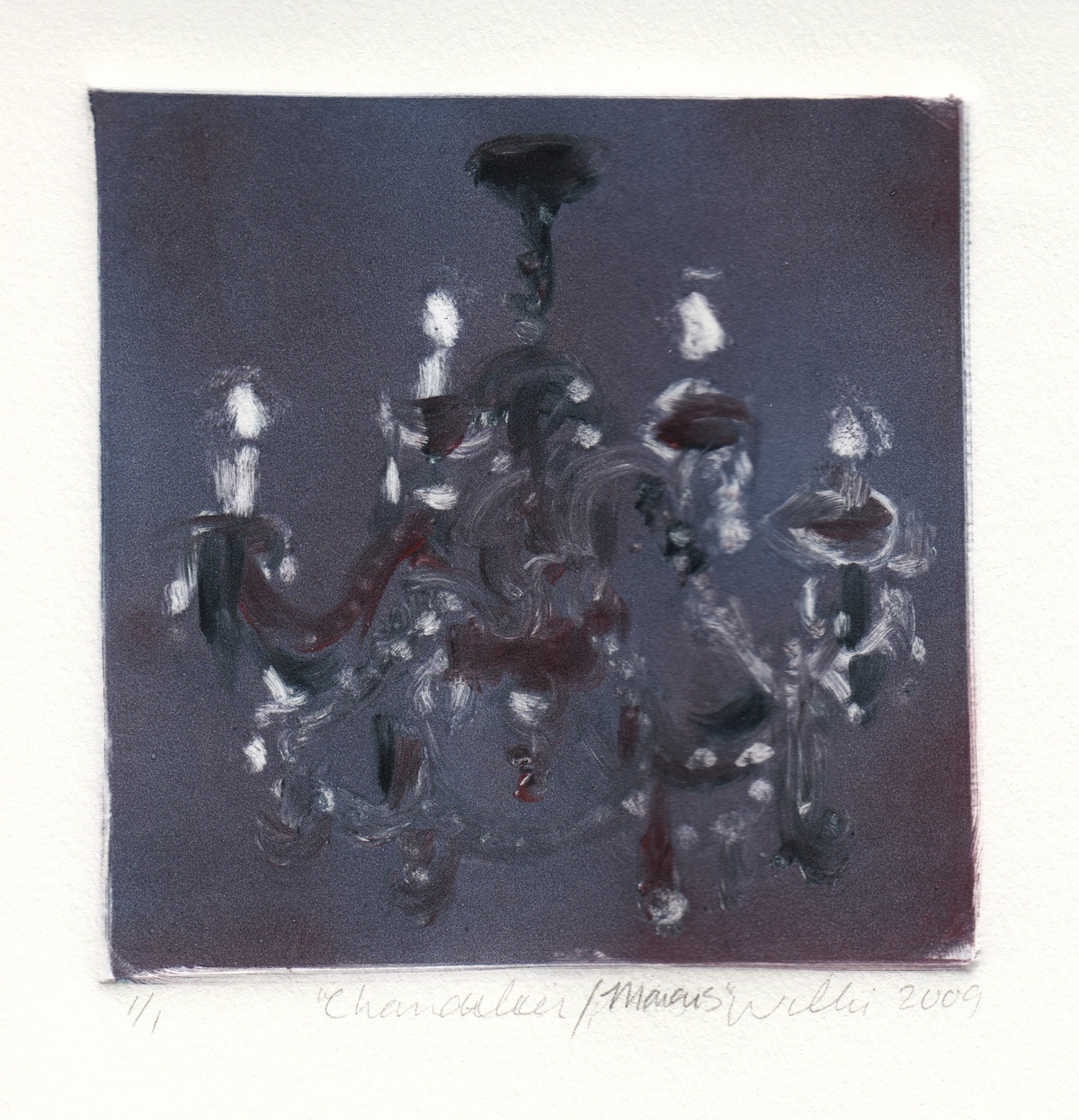 "Nancy Willis   Chandelier/Marais , 2009 monotype 5"" x 5"", framed 14"" x 12"""