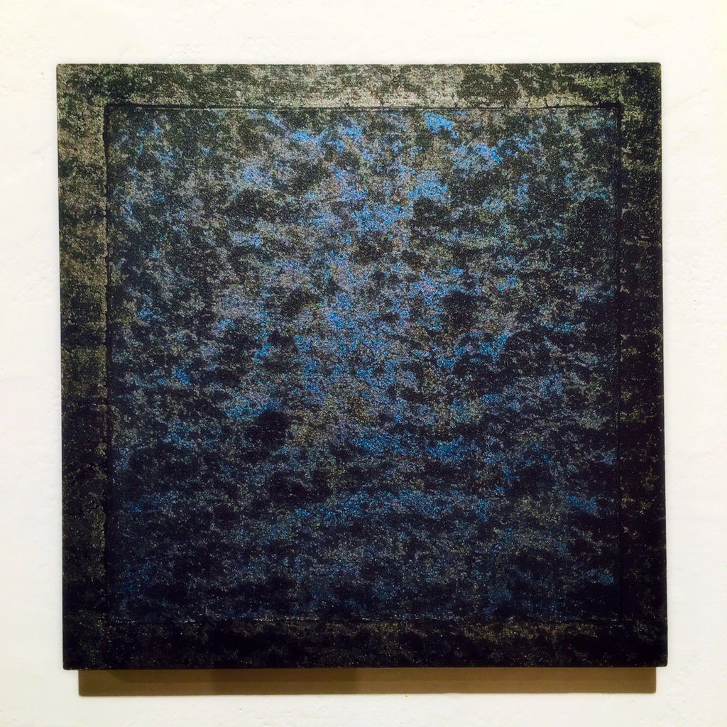 "Bonnie Neumann   Night (Blue),  2014 oil, paper, and acrylic on wood panel 12"" x 12"""