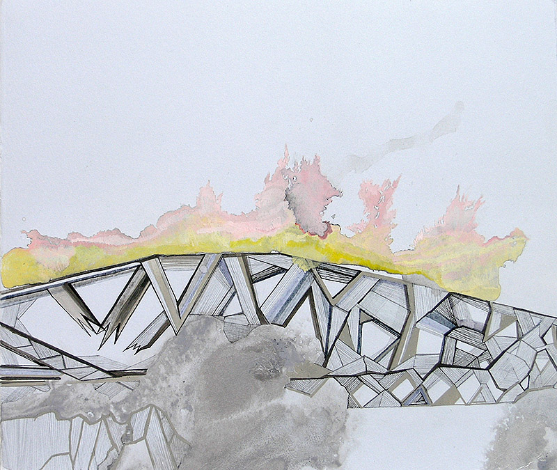 "Hughen/Starkweather   Requiem 9 (from the Bay Bridge Project) , 2013 ink, gouache, and pencil on paper 15"" x 15"""