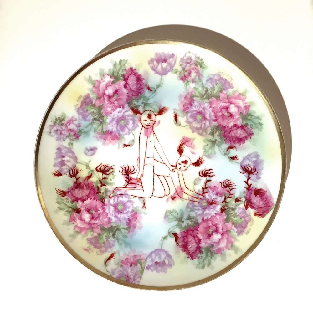 "Cathy Lu   china (Bavaria) , 2015 china paint on found plate 8.5"" x 8.5"""