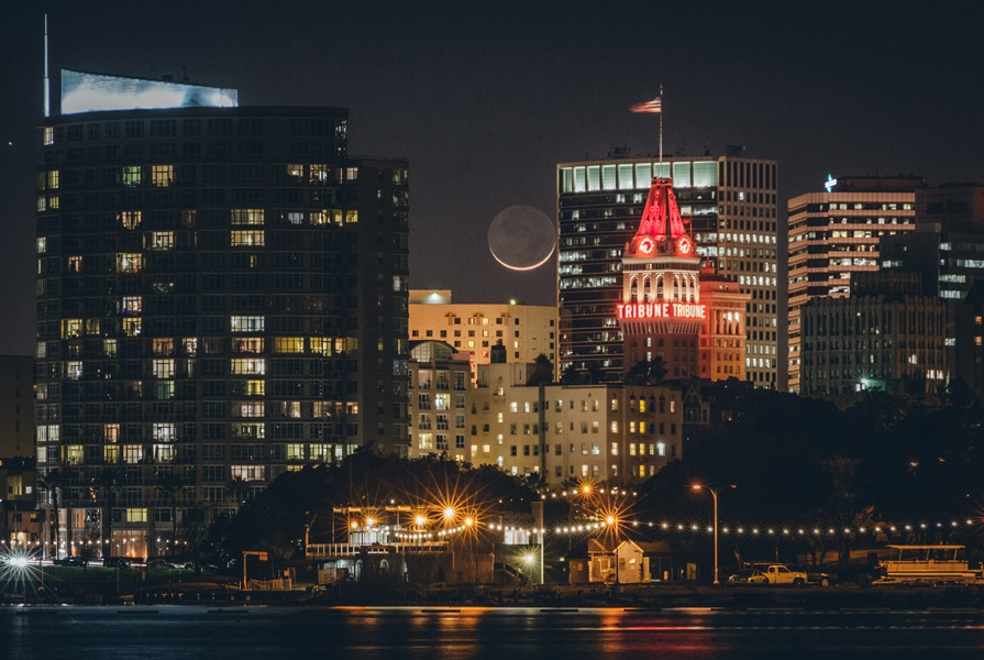 "Marcell Turner   Moonrise Over Oakland , 2015 digital print 20"" x 30"""