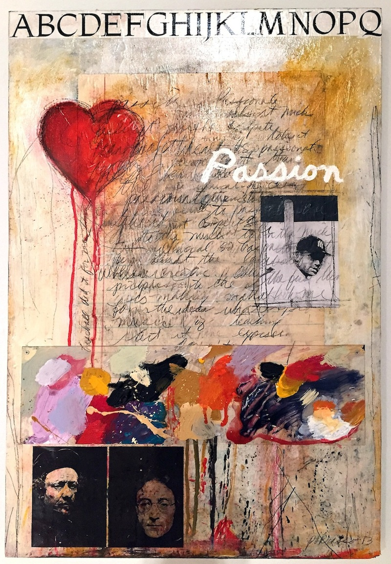 "Ron Pokrasso   Lesson Plan, Teach the P Word , 2013 acrylic, collage, drawing, assemblage on wood 30"" x 20"""