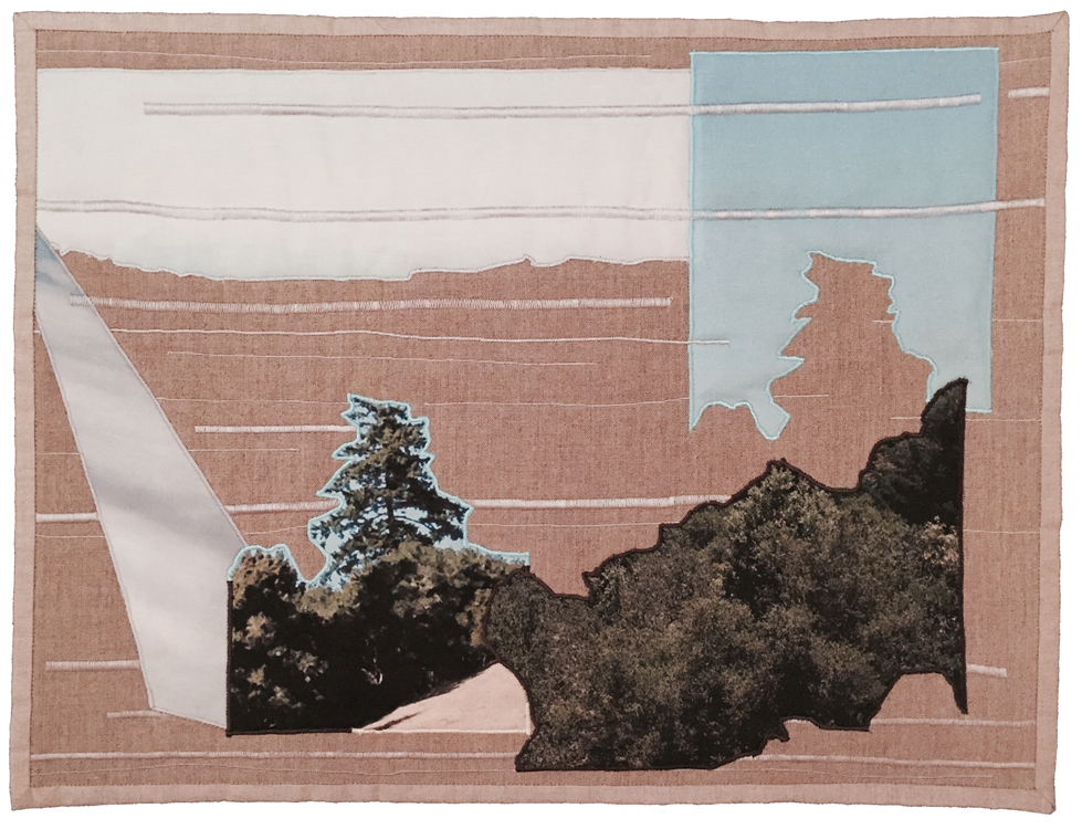 "Amber Jean Young   It Comes Back in Fits and Starts IV , 2014 quilt: linen, thread, batting, muslin 20"" x 27"""