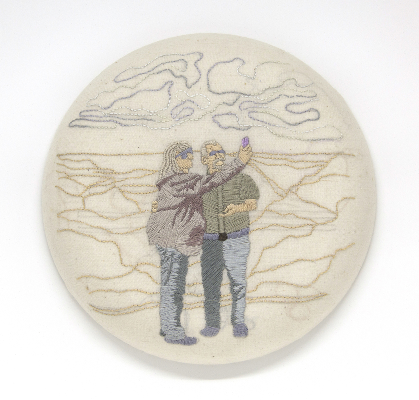 "Jennifer Noland   Chuck and Sylvia , 2015 cotton and embroidery floss 8"" diameter"