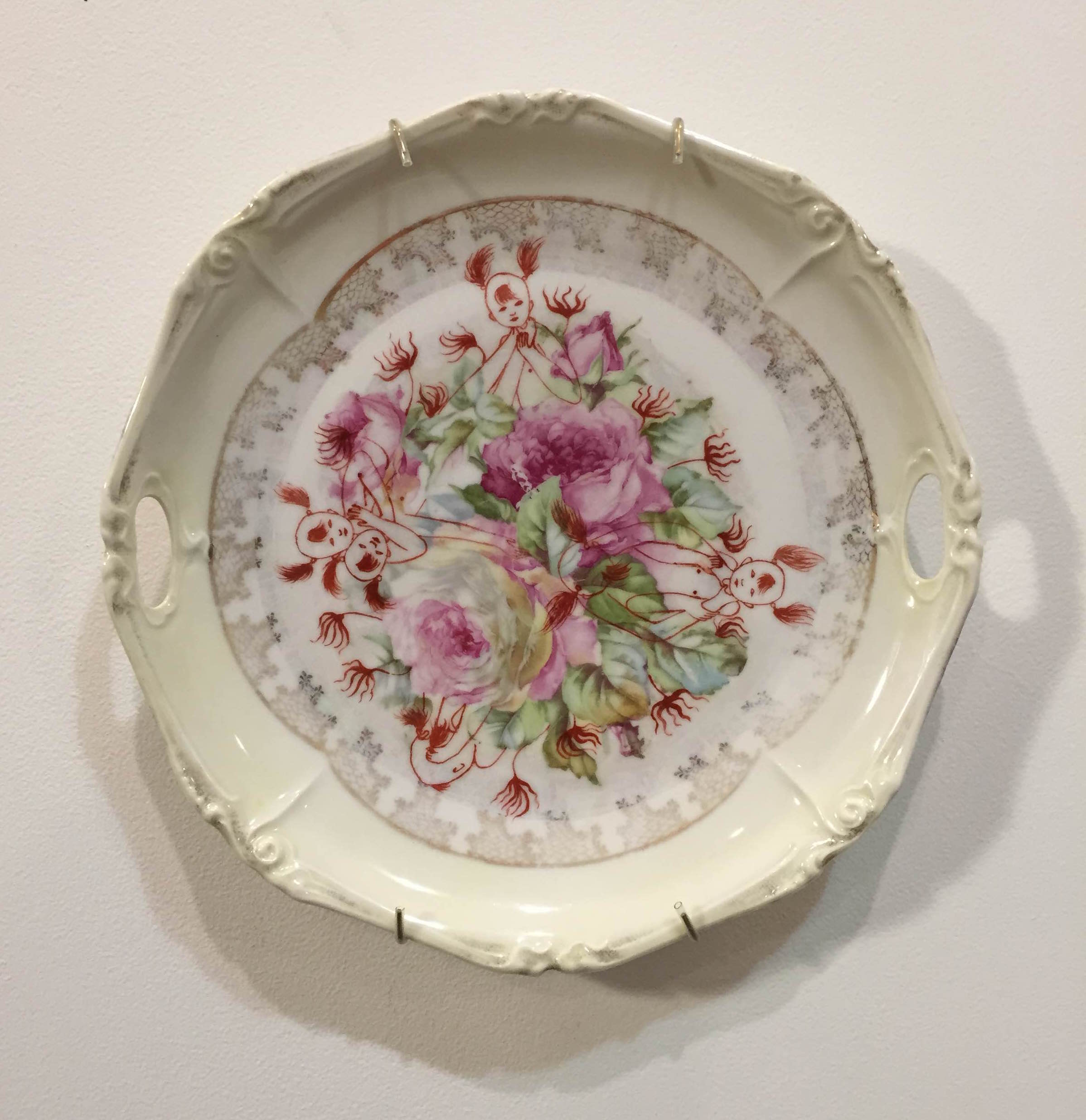"""Cathy Lu   Untitled,  2015  china painting on found plate  9.5"""" x 9.5"""" x 1.5"""""""
