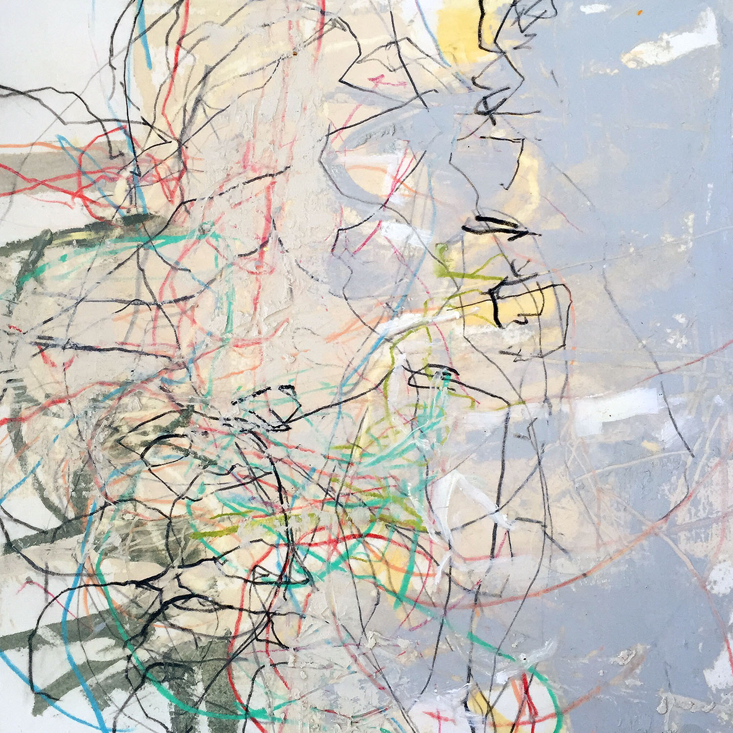 John Wood   Tinged Authenticity  mixed media on paper mounted on wood 13' x 13'