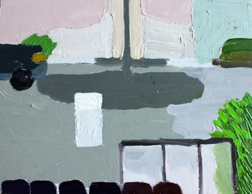 """Aliza Cohen    Parked Car and Light , 2014 oil on panel 6"""" x 8"""""""