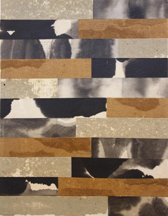 """Jamie Brunson   Stormy sumi ink on rice paper, vintage found paper collage, acrylic on rag paper 14.75"""" x 11"""""""
