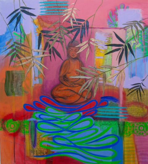 """Sas Colby    Garden Buddha , 2014 acrylic and flasche on canvas with collaged prayer flags 36"""" x 40"""""""