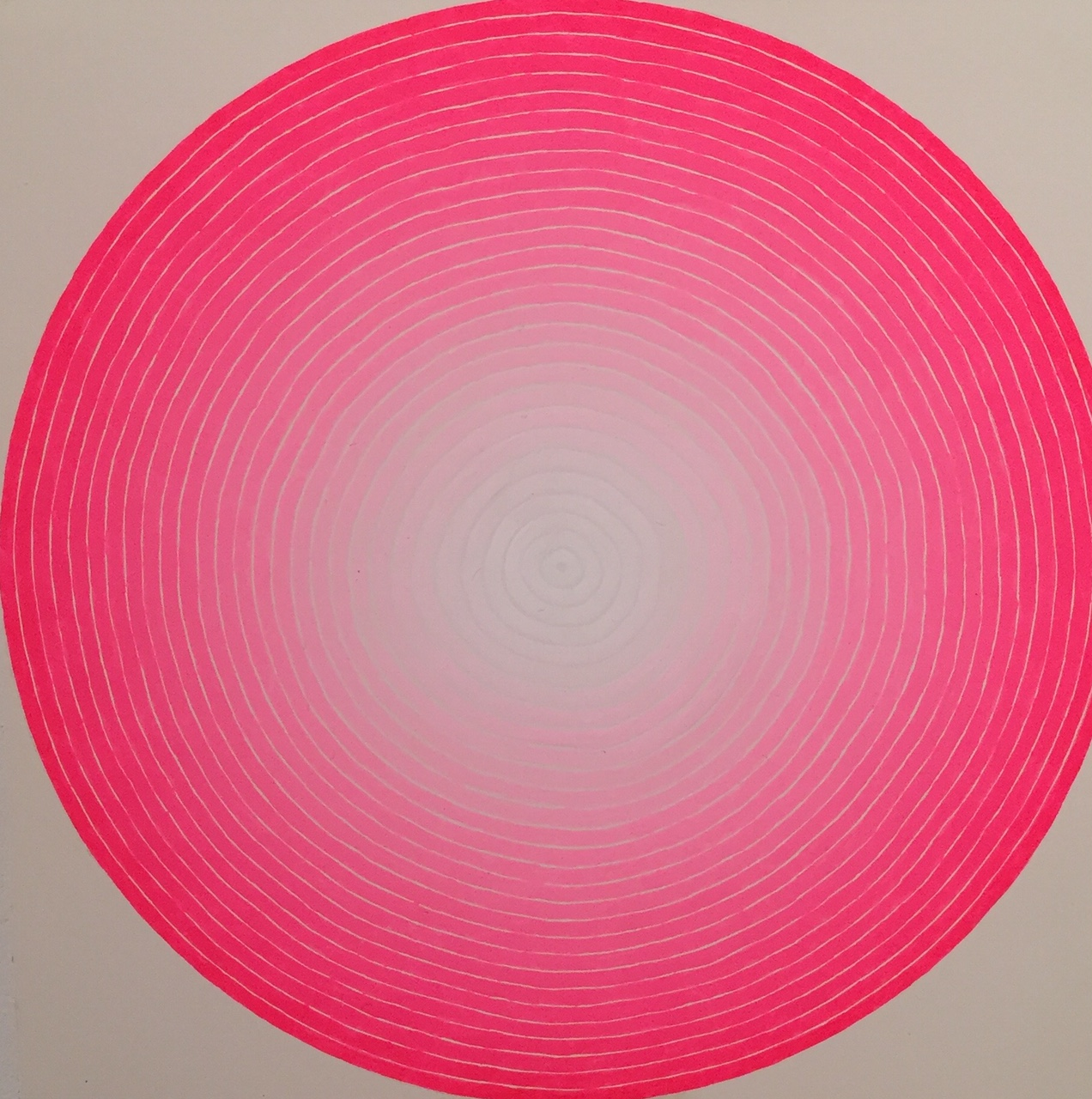 """Rochelle Youk   Untitled (Concentric, Pink) , 2016 gouache on panel 6"""" x 6"""""""