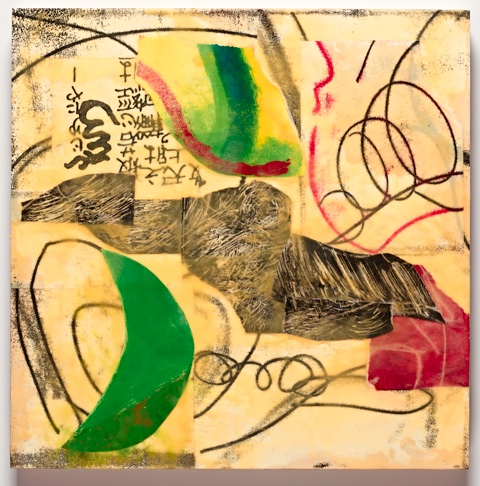 """Larry Stefl   Boa Vista #25 , 2016 monotype, transfer print and collage, mixed media and beeswax 16"""" x 16"""""""