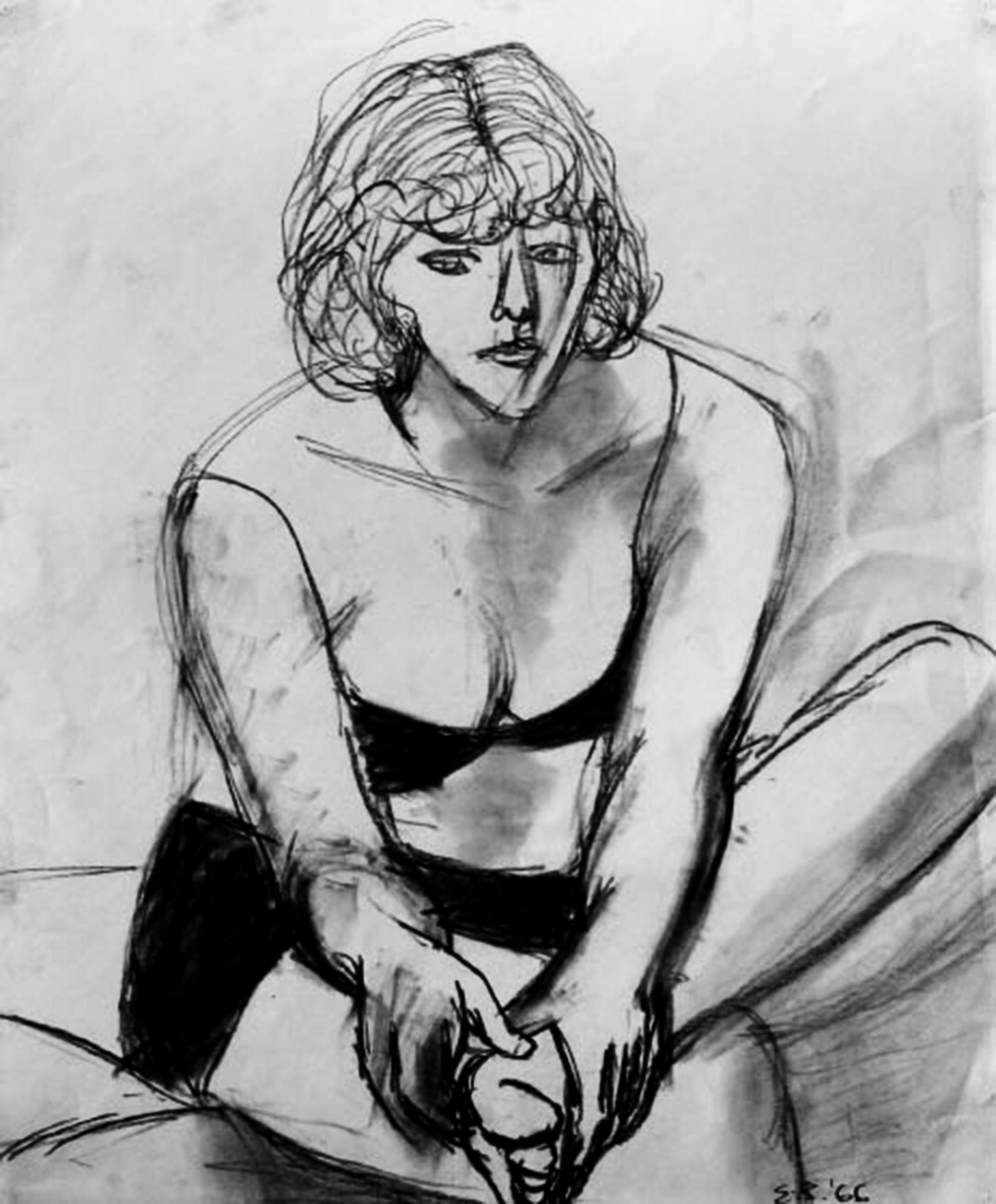 Elmer Bischoff   Partially-Clad Seated Nude , 1966 charcoal on paper courtesy George Adams Gallery, NY