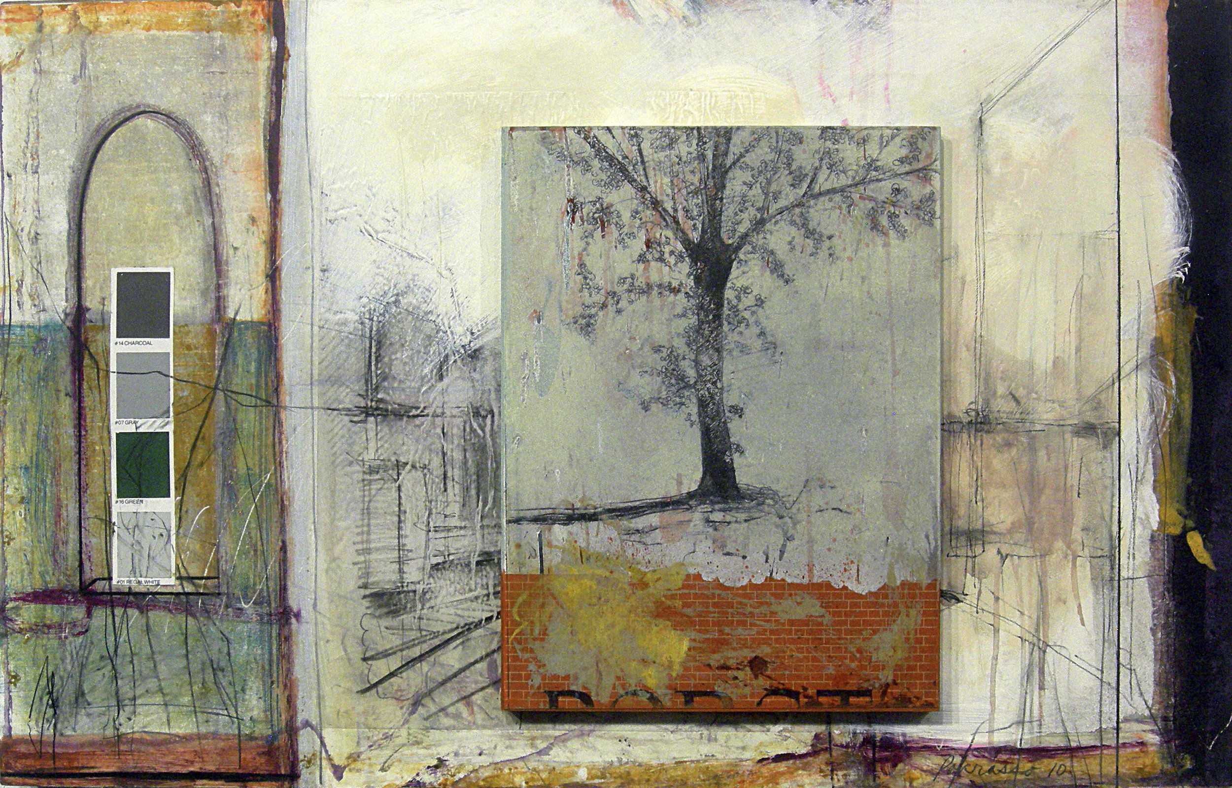 """Ron Pokrasso   A Ways From Waverly ,  2010  monotype, drawing, intaglio, collage, assemblage on paper on wood 22"""" x 35"""" x 3"""""""