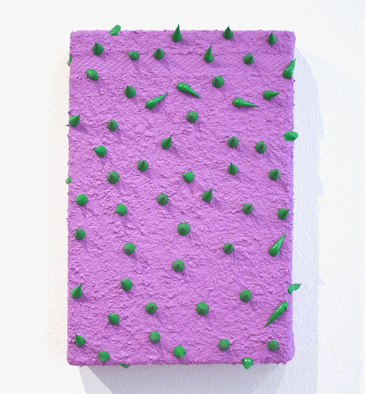 Sofie Ramos  purple towel with green spikes , 2017 acrylic paint, towel, wood 12 x 8""