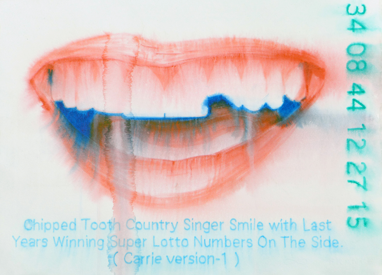 Chris Finley  Chipped Tooth Country Singer Smile with Last Year's Winning Lotto Numbers on the Side,  2017 watercolor on paper 11 x 14""