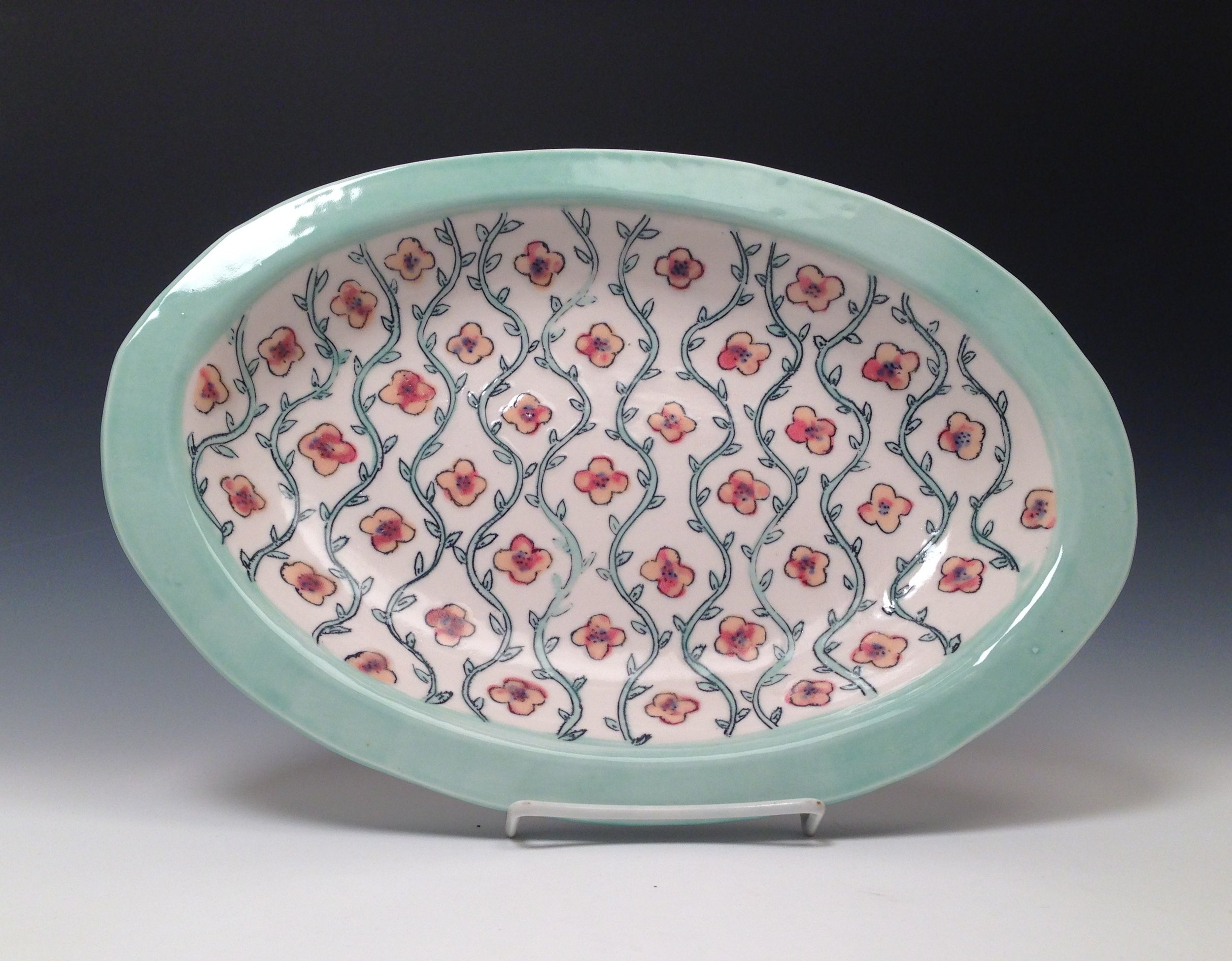 Josie Jurczenia  Bloom-Wallpaper Platter , 2014 cone 6 porcelain 15 x 10.5""