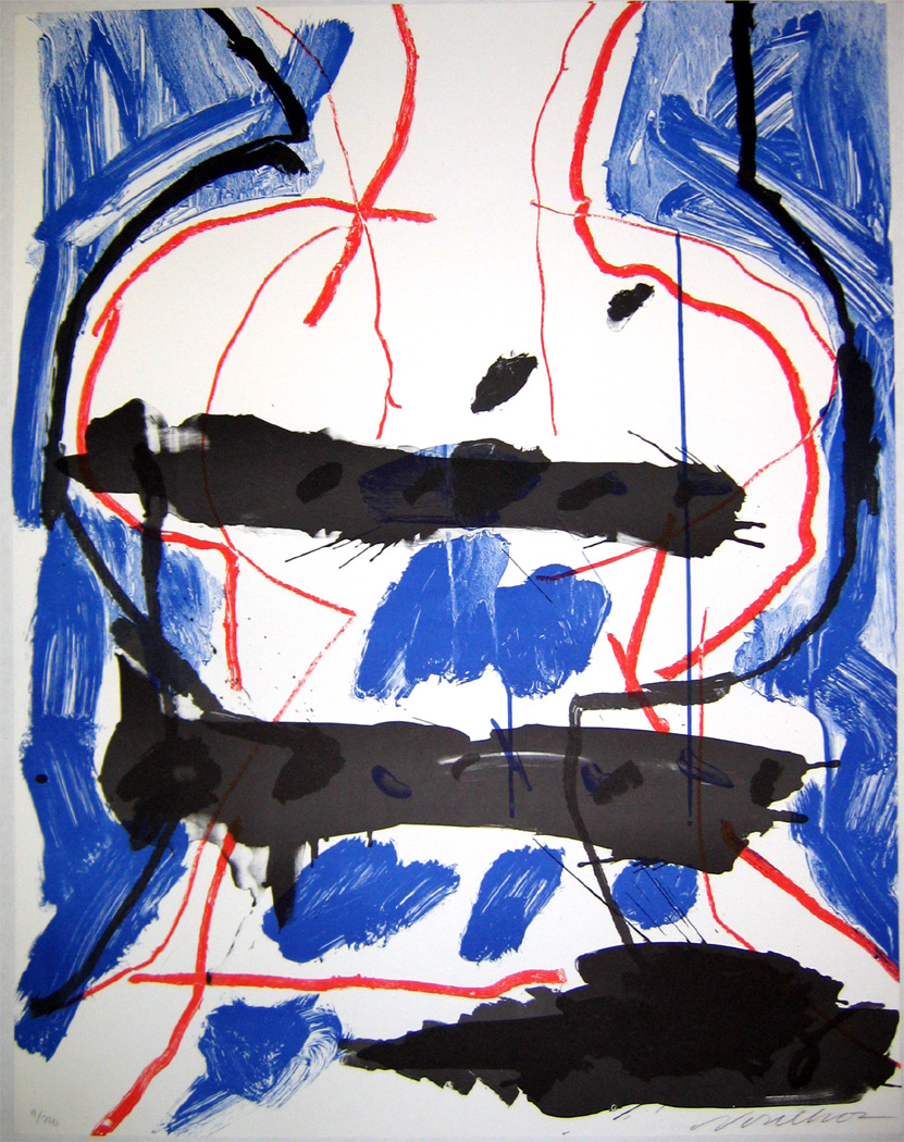 "Peter Voulkos  Got the Cobalt Blues , 1975 lithograph 77/200 32 x 35"" courtesy of the estate of Ruth Braunstein"