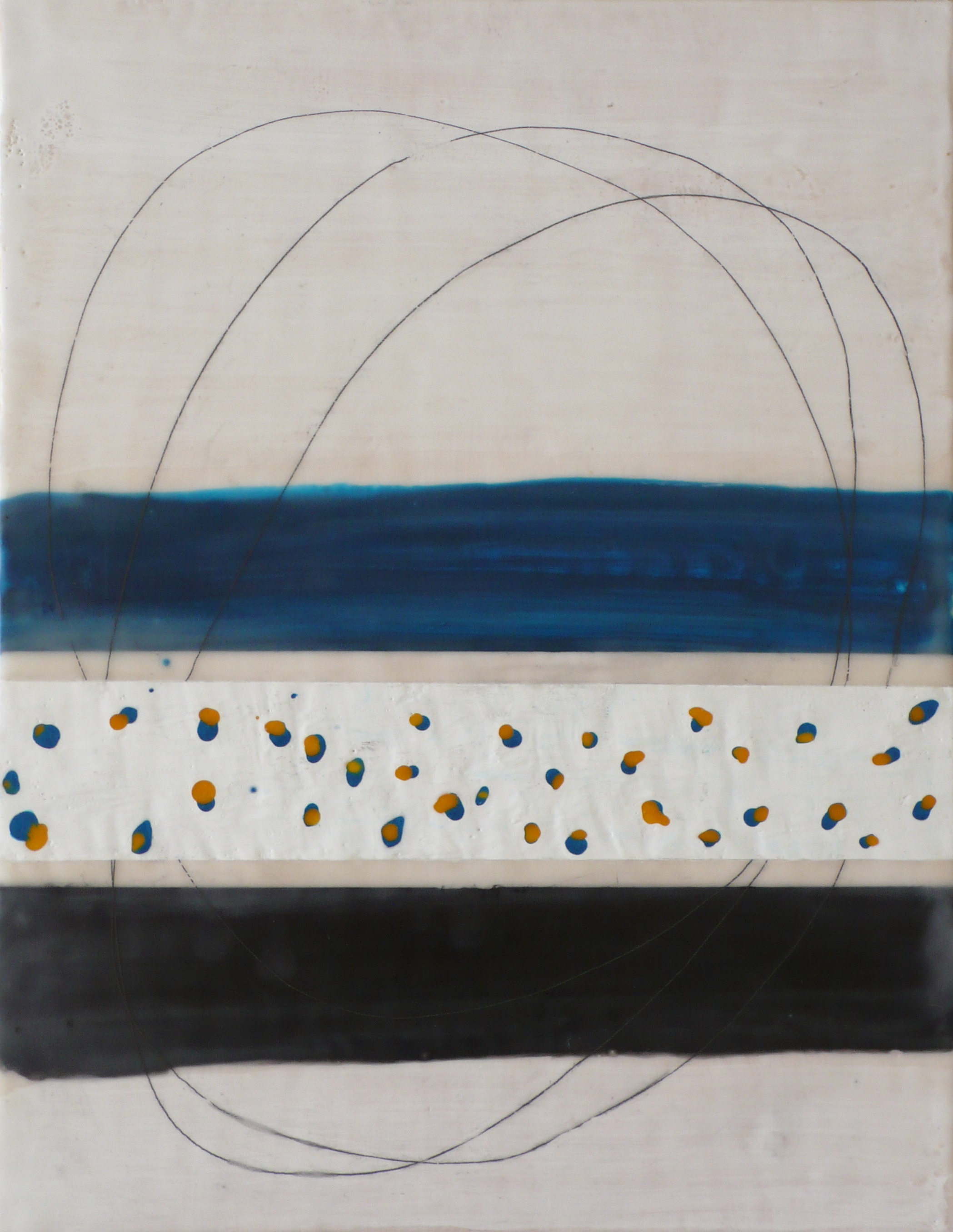 Kim Cardoso  Orb , 2015 encaustic and graphite on birch panel 18 x 14""