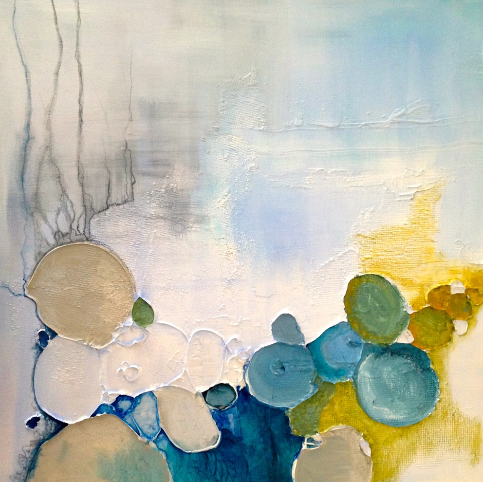 Kimberley D'Adamo Green  Water Study #5 , 2016acrylic, watercolor & mixed media on canvas 24 x 24""