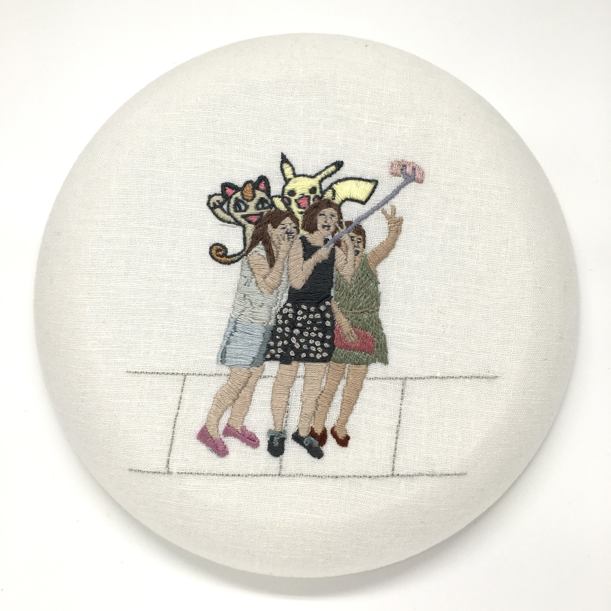 "Jennifer Noland  Susie, Helen and Kate (Meowth and Pikachu) , 2017 cotton muslin and embroidery floss 8"" diameter"