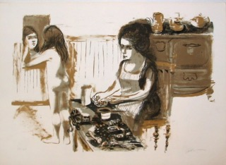 Ruth Gikow  Girl in Kitchen , 1970 color lithograph on paper courtesy of the estate of the artist and George Krevsky Galler