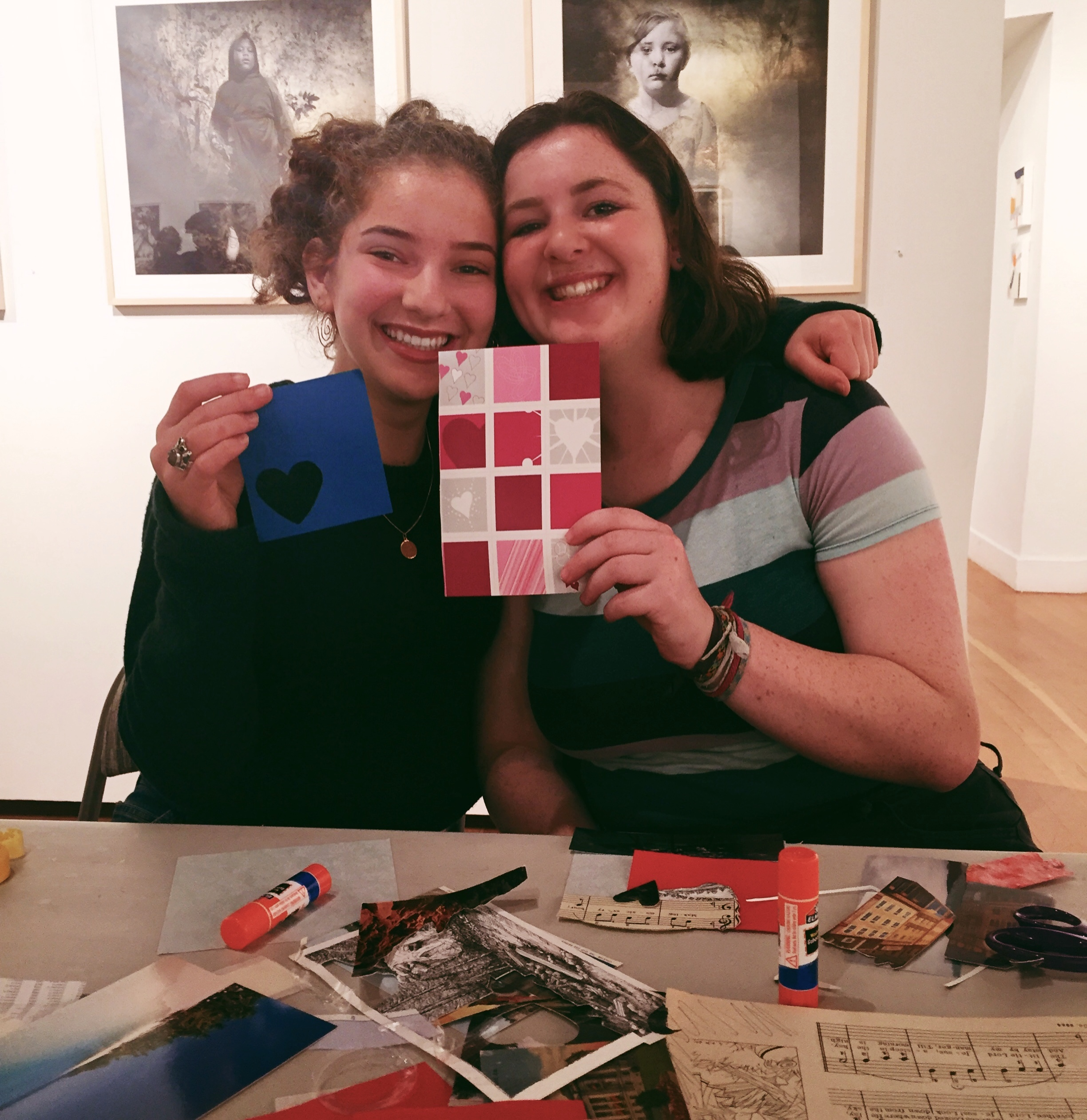 Lucia and Lena help out at Green Valentines Workshop