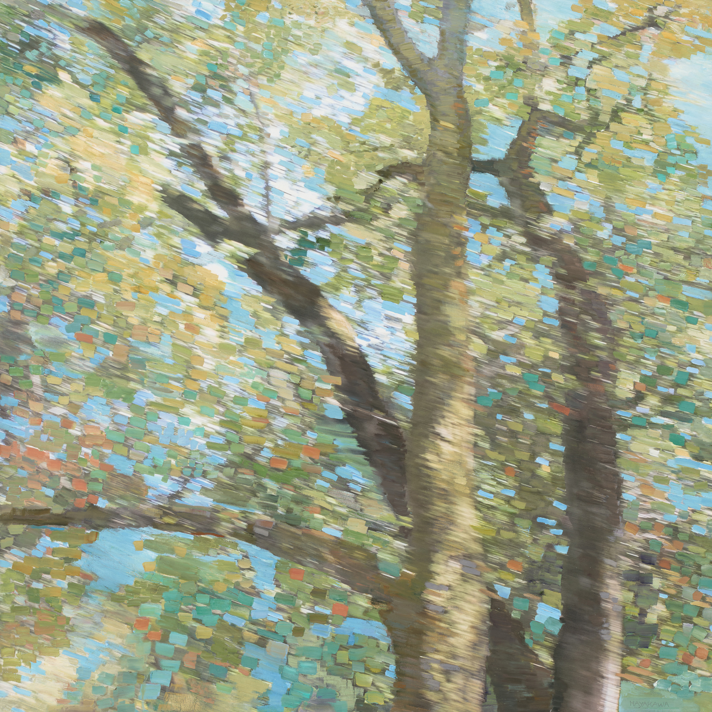 SUNOL,  2018   oil on canvas with archival digital print 38 in. x 38 in.