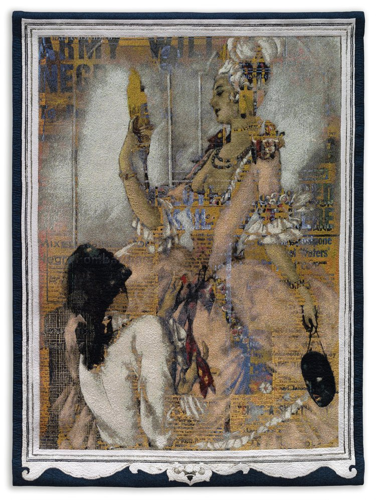 Mildred Howard,  Casanova: Style, Swagger, and the Embracement of the Other II , 2018, cotton Jacquard tapestry, edition of six, 72.5 in. x 55 in.