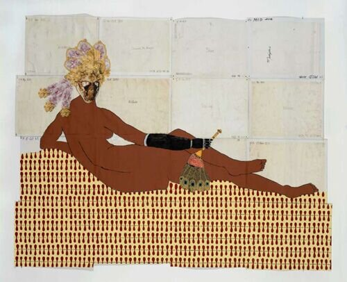 Katherine Sherwood   After Ingres , 2014   mixed media on canvas   84 in. x 105 in.