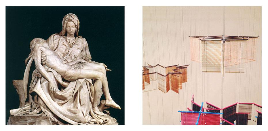Michelangelo,  Pieta , 1498-99     Haegue Yang,  Towers on String -- Variant Dispersed,  2013