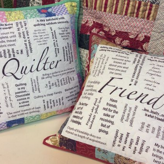 """How to use the  'Friend'  and  'Quilter'  panels to make a   16"""" throw pillow"""
